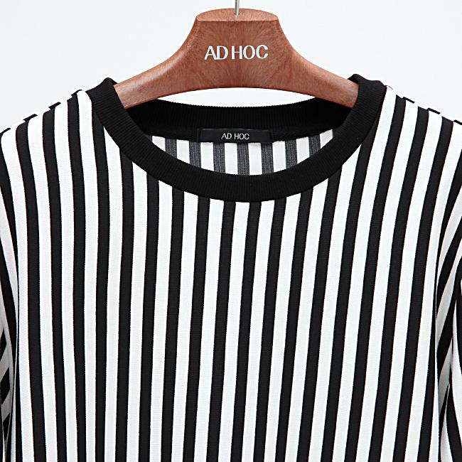 애드호크(ADHOC) 스트라이프 긴 티셔츠