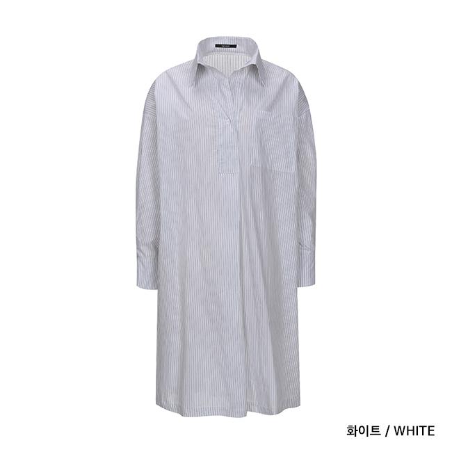 애드호크(ADHOC) 여성 STRIPE 롱 셔츠
